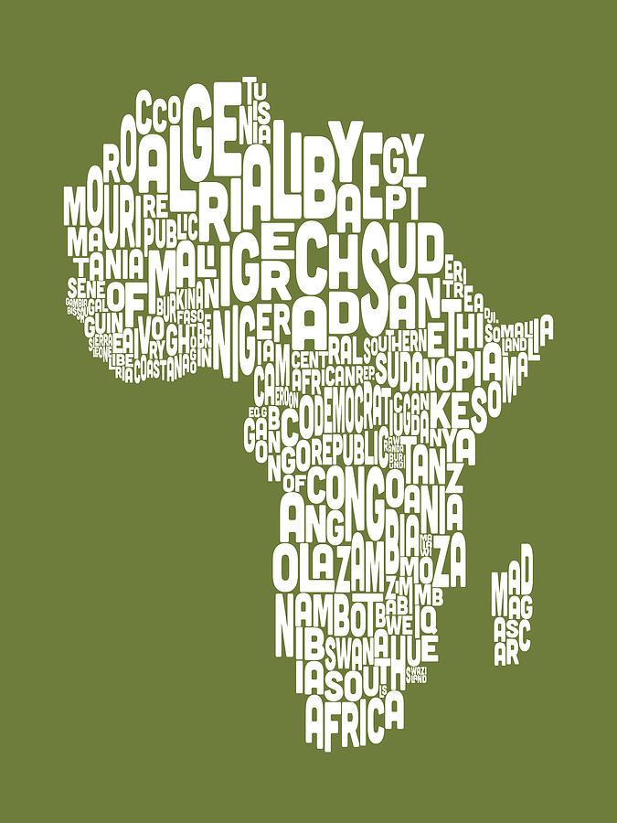 Africa Map Digital Art - Map Of Africa Map Text Art by Michael Tompsett