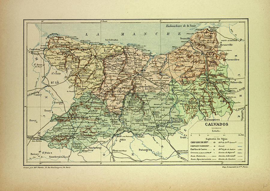 Calvados France Map.Map Of Calvados France Drawing By French School
