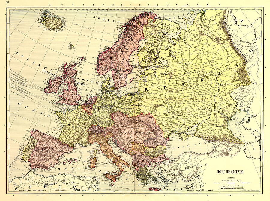 Antique Europe Map Digital Art - Map Of Europe by Gary Grayson