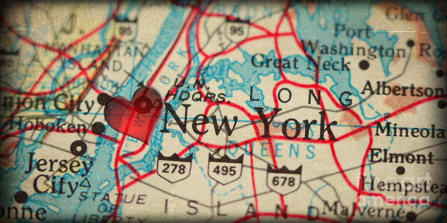 Map Of New York City Usa In A Antique Distressed Vintage Grunge - Usa map new york