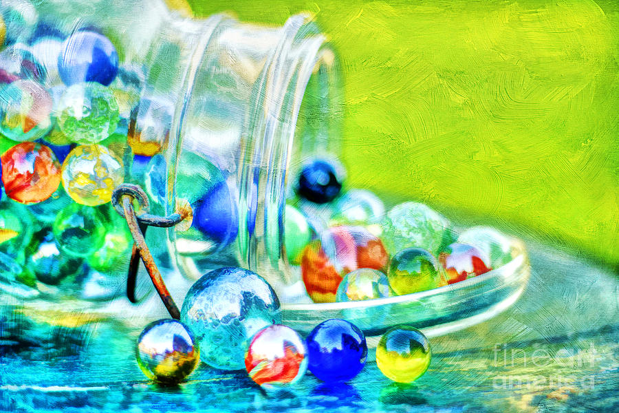 Jar Photograph - Marbles by Darren Fisher