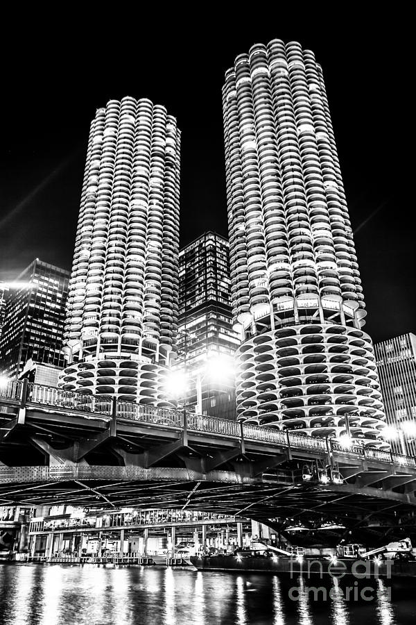 Bridge Photograph - Marina City Towers At Night Black And White Picture by Paul Velgos
