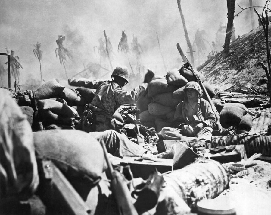 1940s Photograph - Marines Fight At Tarawa by Underwood Archives