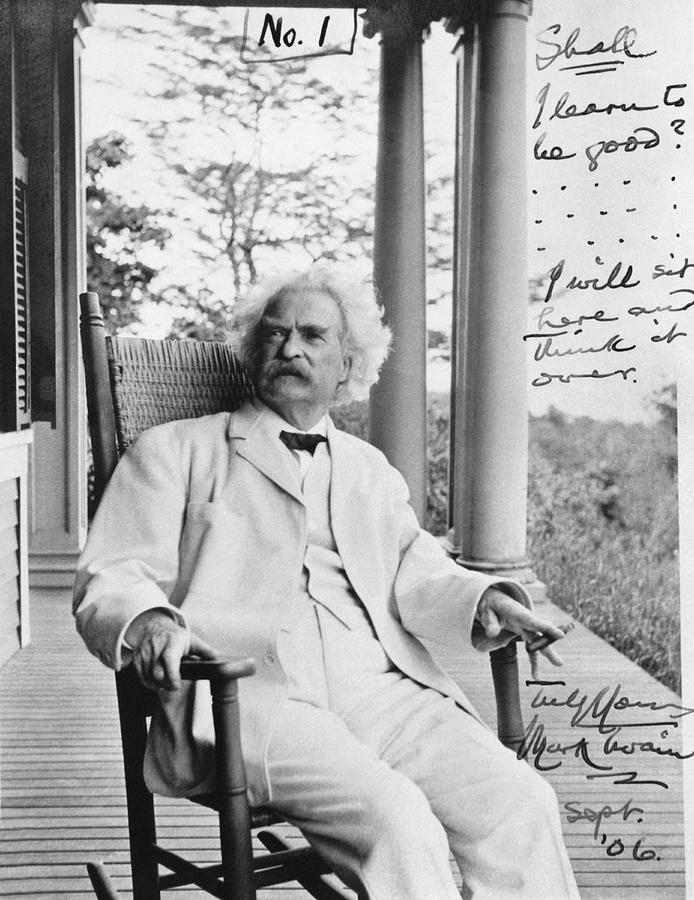 1900's Photograph - Mark Twain On A Porch by Underwood Archives