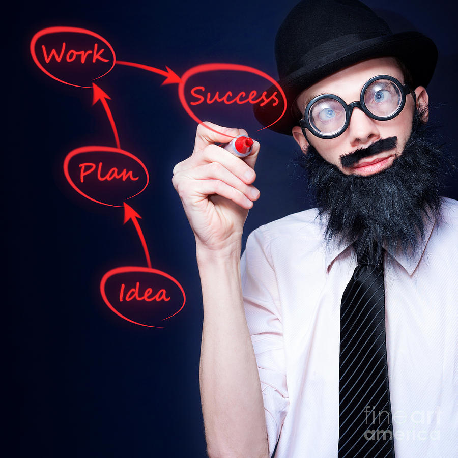 Achievement Photograph - Marketing Business Man Drawing Success Diagram by Jorgo Photography - Wall Art Gallery