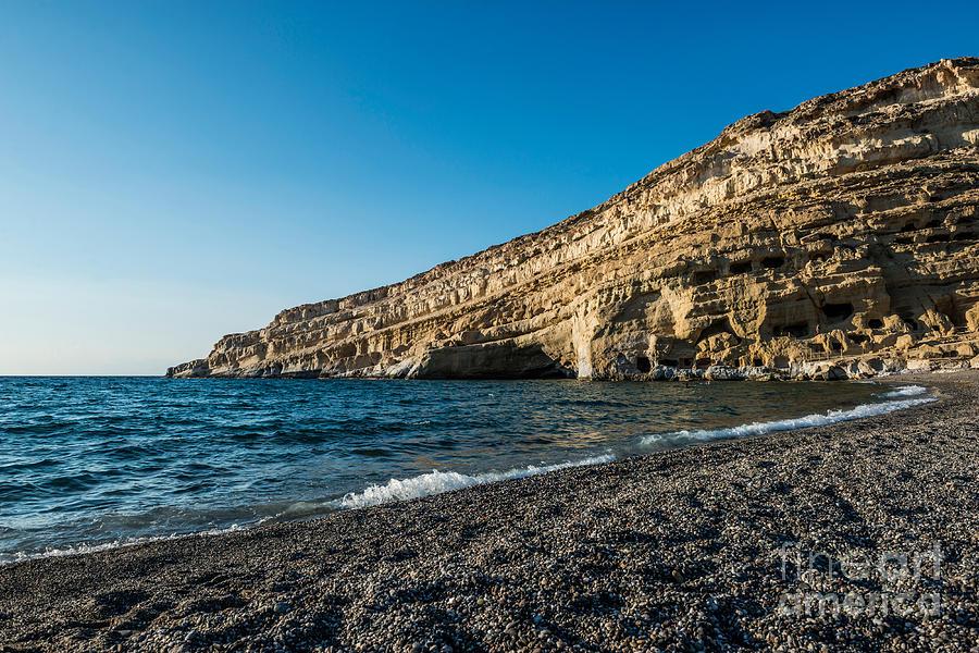 Pebbles Photograph - Matala Beach by Luis Alvarenga