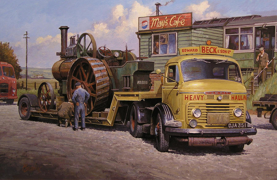 Lorry Painting - Mays Transport Cafe. by Mike  Jeffries