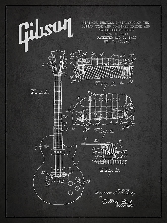 Gibson Digital Art - Mccarty Gibson Les Paul guitar patent Drawing from 1955 -  Dark by Aged Pixel