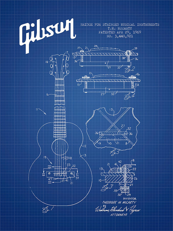 Gibson Digital Art - Mccarty Gibson Stringed Instrument Patent Drawing From 1969 - Bl by Aged Pixel