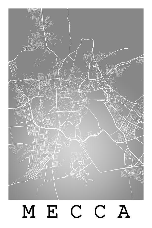 Mecca Street Map Mecca Saudi Arabia Road Map Art On Color Digital