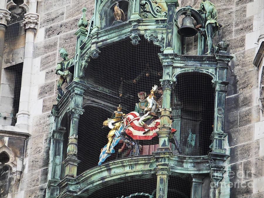 Glockenspiel Photograph - Mechanical Clock In Munich Germany by Howard Stapleton