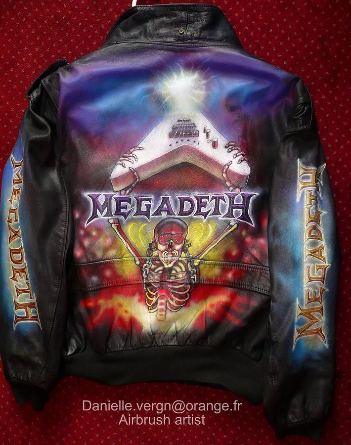 Megadeth Mixed Media - Megadeth Airbrushed Leather Jacket by Danielle Vergne