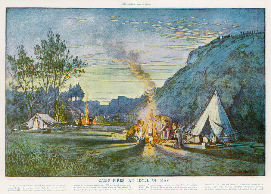 Camping Drawing - Members Of A Camping Club,  Having by  Illustrated London News Ltd/Mar
