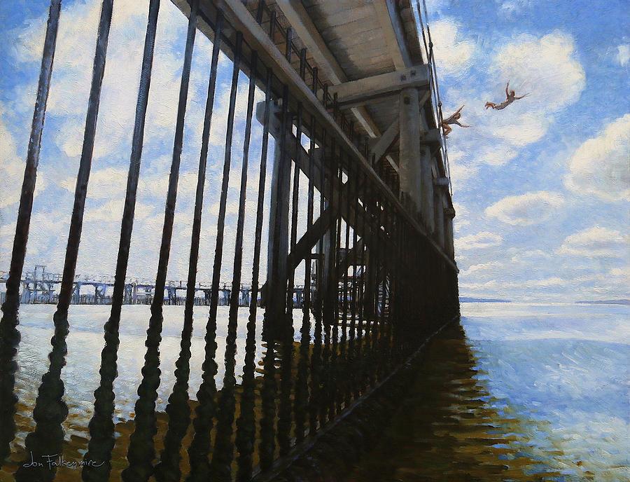 Brighton-le-sands Painting - Memories of Brighton-Le-Sands Baths by Jon Falkenmire