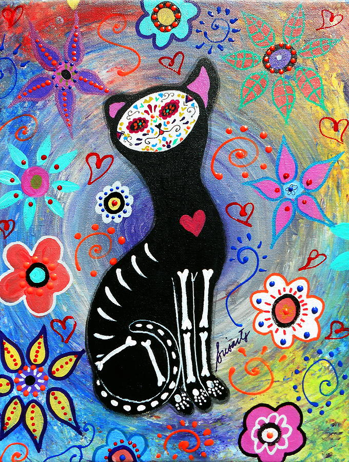 Day Of The Dead Painting - Meow II Day Of The Dead by Pristine Cartera Turkus