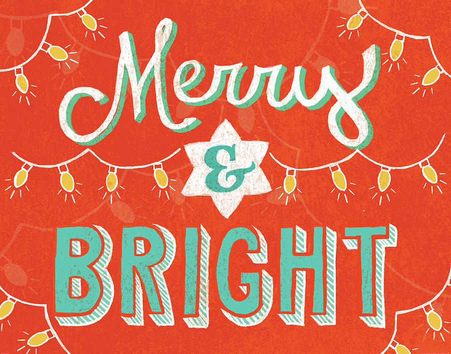 Christmas Painting - Merry And Bright by Mary Urban