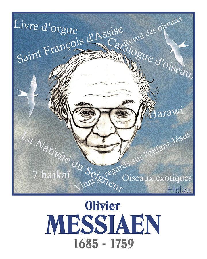 Messiaen Drawing - Messiaen by Paul Helm