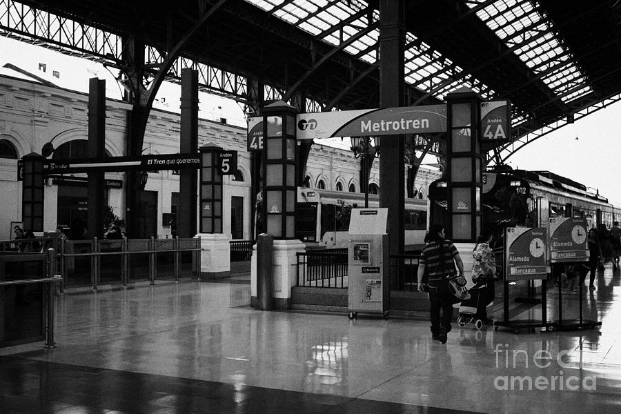 Santiago Photograph - metrotren platforms in Santiago central railway station Chile by Joe Fox
