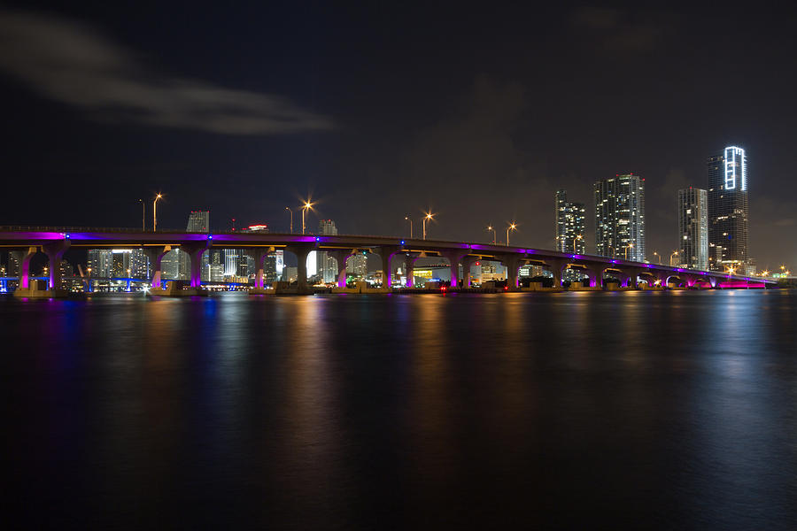 Architecture Photograph - Miami Night Skyline by Andres Leon