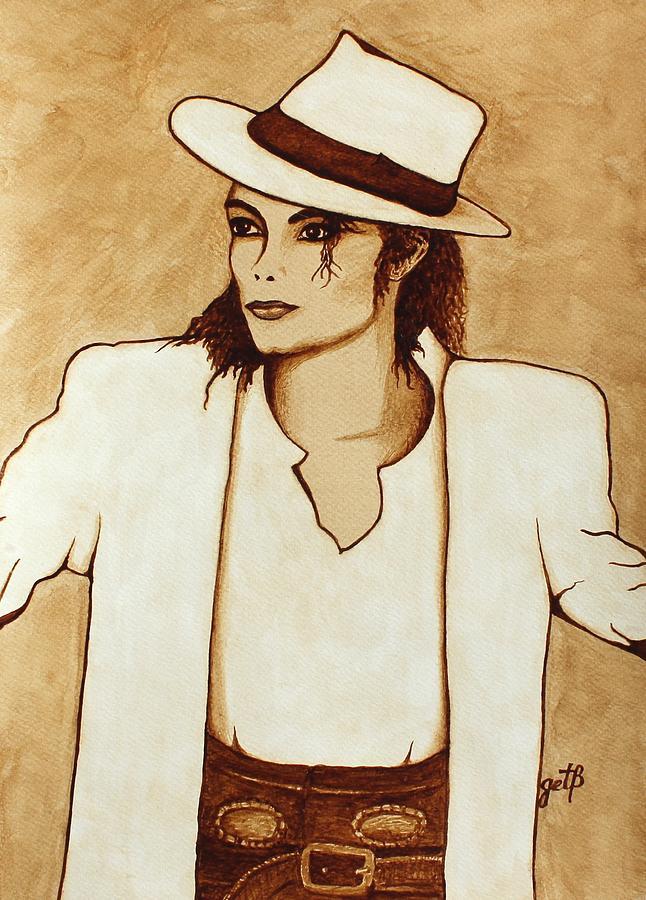 Michael Jackson Singer Coffee Painting Painting - Michael Jackson Original Coffee Painting by Georgeta  Blanaru