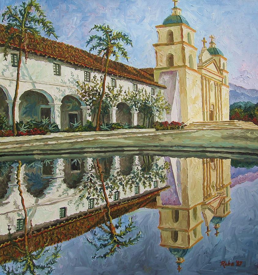 Mission Santa Barbara Painting - Mission Santa Barbara by Mike Rabe