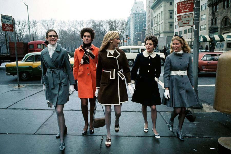Models Wearing Coats Photograph by William Connors