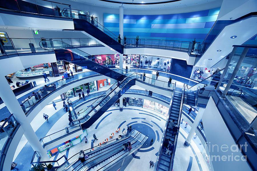 Mall Photograph - Modern Shopping Mall Interior by Michal Bednarek