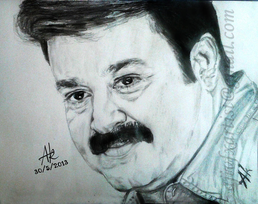 Mohanlal pencil drawings drawing by artist aji