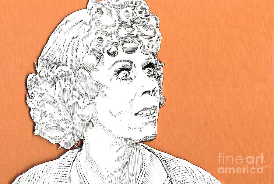 Carol Mixed Media - momma on Orange by Jason Tricktop Matthews