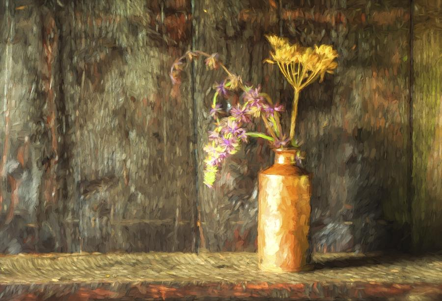 Flowers Photograph - Monet Style Digital Painting Retro Style Still Life Of Dried Flowers In Vase Against Worn Woo by Matthew Gibson