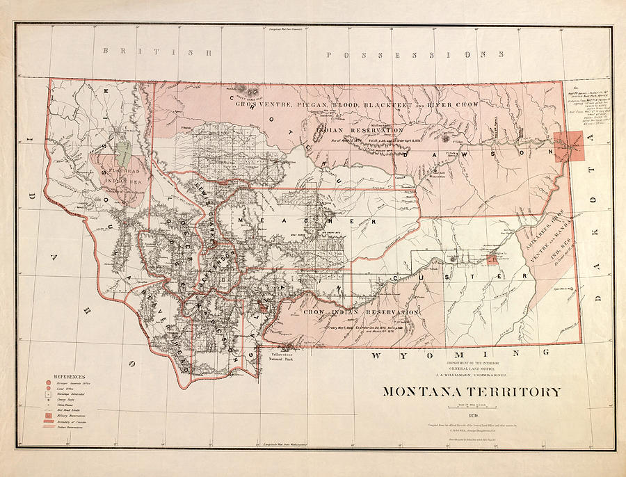 Montana Vintage Antique Map Drawing By World Art Prints And Designs