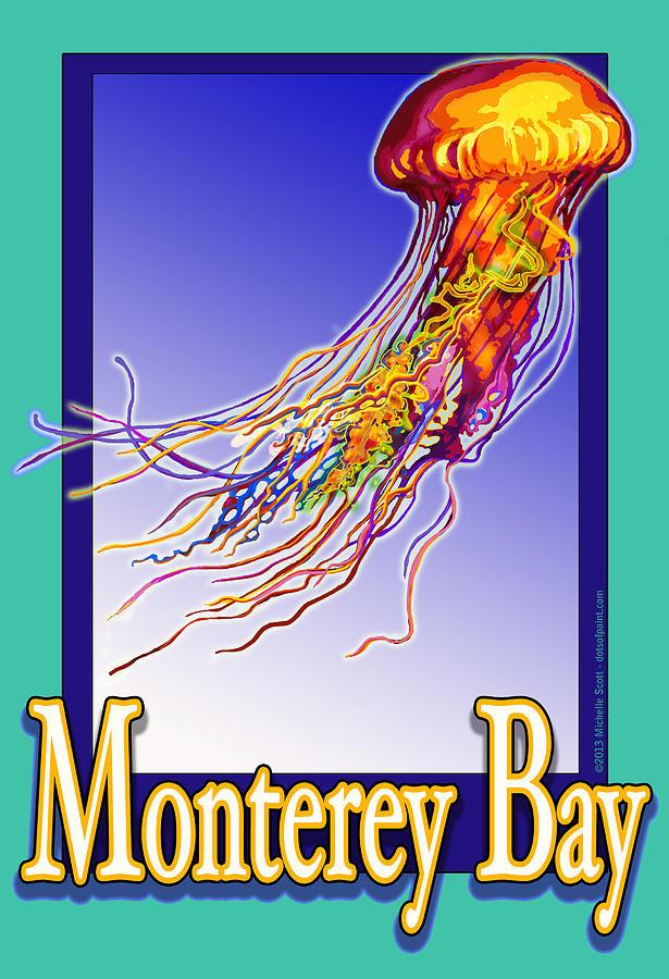 Monterey Bay Digital Art - Monterey Bay Jellyfish by Michelle Scott