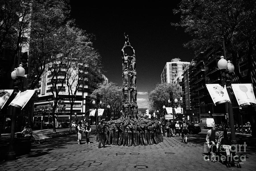 Rambla Photograph - Monument To The Castellers On Rambla Nova Avenue In Central Tarragona Catalonia Spain by Joe Fox