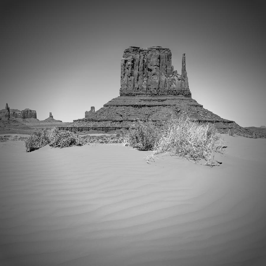 Monument Valley Photograph - Monument Valley - West Mitten Butte Bw by Melanie Viola