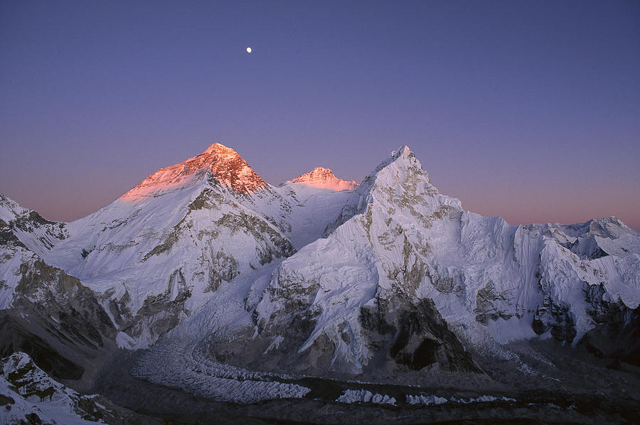 Photograph Photograph - Moon Over Mount Everest Summit by Grant  Dixon