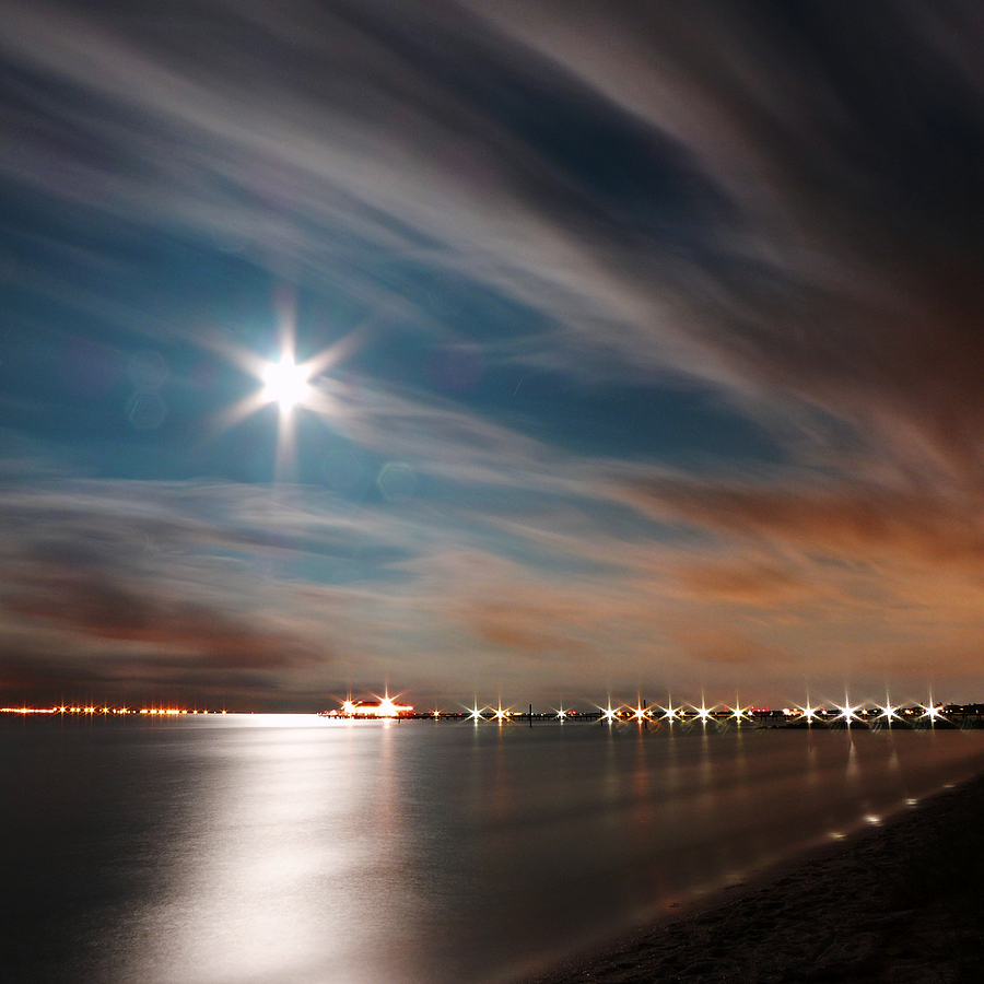 Moon Rise over Anna Maria Island Historic City Pier by Rolf Bertram