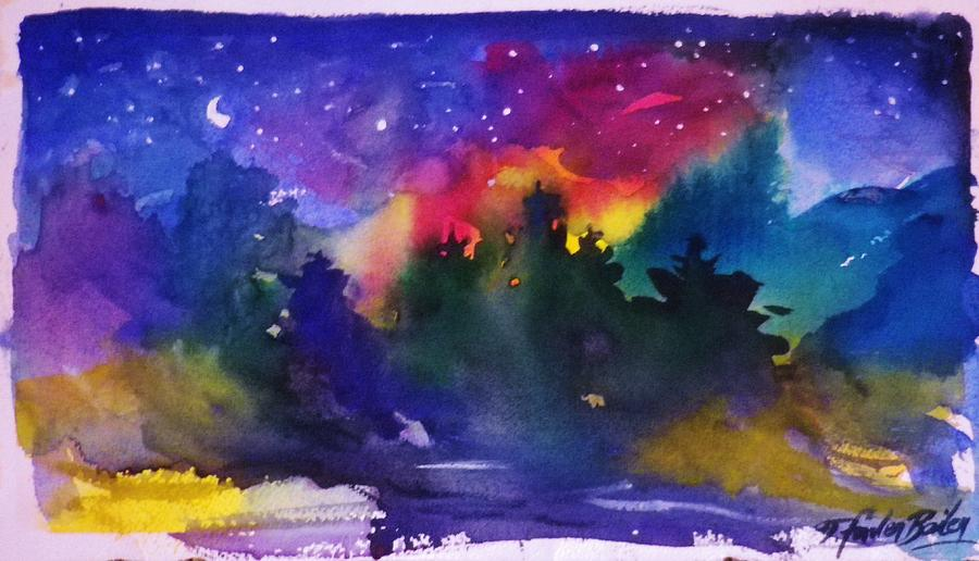 Pines Painting - Moon  Starshine And Pines by Therese Fowler-Bailey