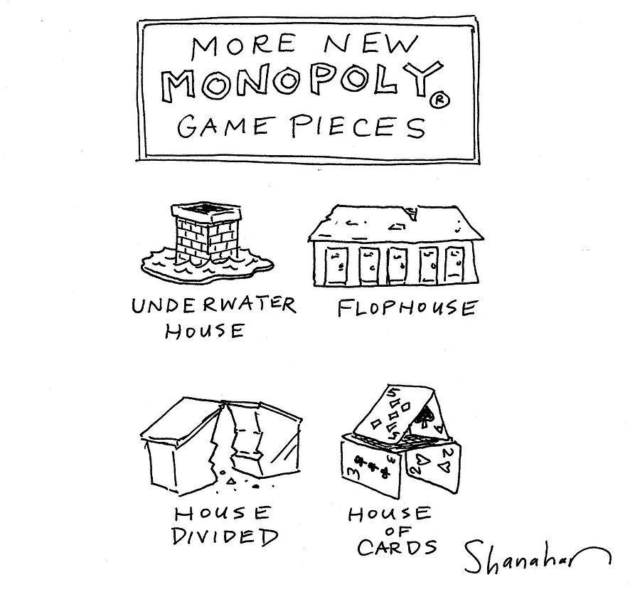 Flophouse Drawing - More New Monopoly Game Pieces by Danny Shanahan