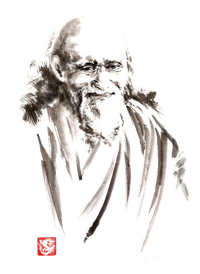 Ueshiba Painting - Morihei Ueshiba Sensei Aikido Martial Arts Japan Japanese Master Sum-e Portrait Founder by Mariusz Szmerdt
