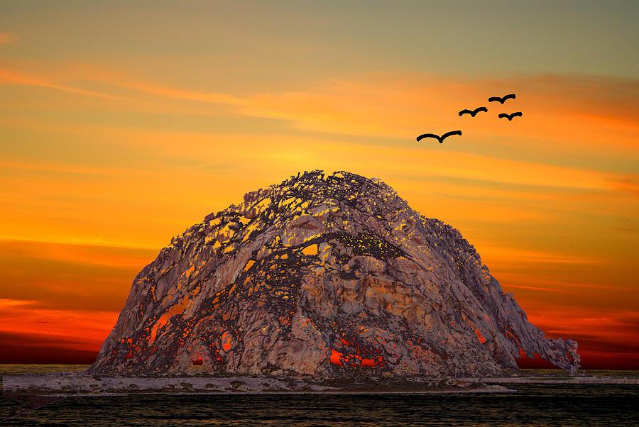 Morro Bay Photograph - Morro Rock 3007 by Barbara Snyder