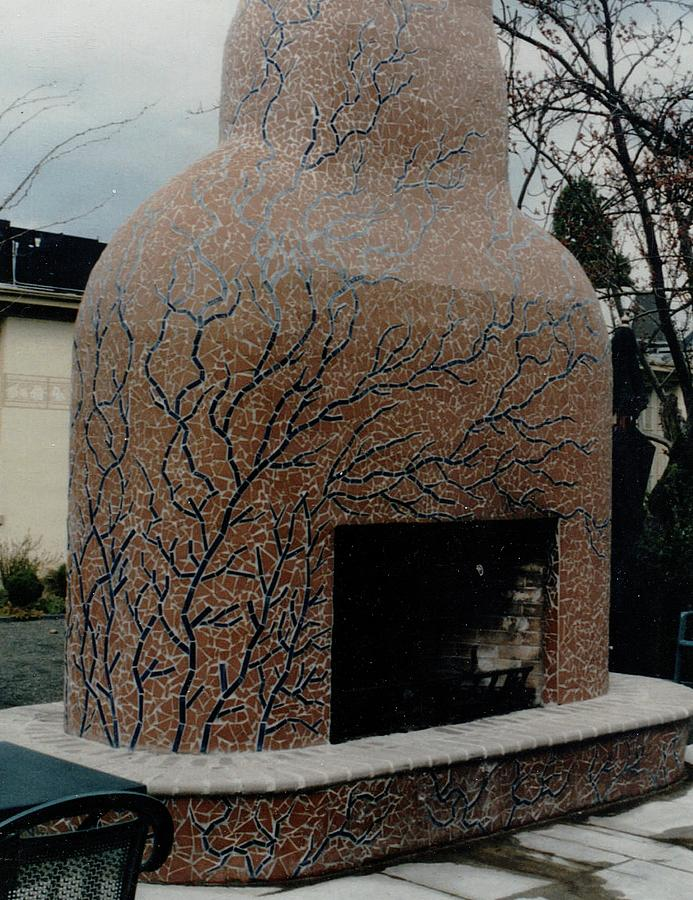 Mosaic Fireplace Ceramic Art by Charles Lucas