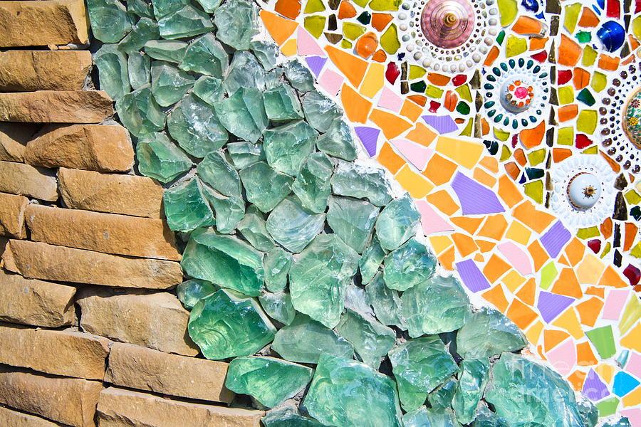 Square Photograph - Mosaic Texture  by Niphon Chanthana