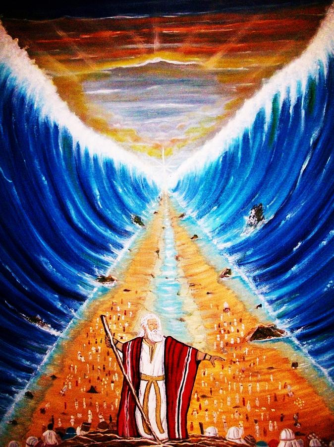 Parting The Red Sea Painting - Moses. by Roejae Baptiste