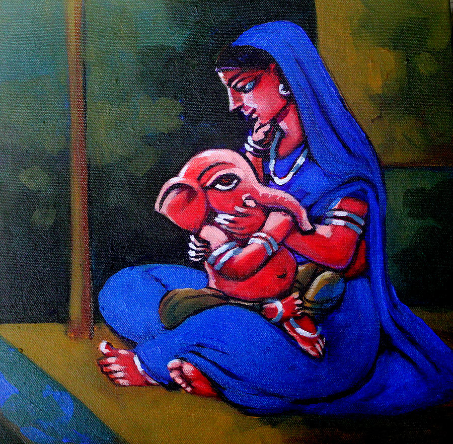 Mother And Child. Painting by Abhijit Banerjee