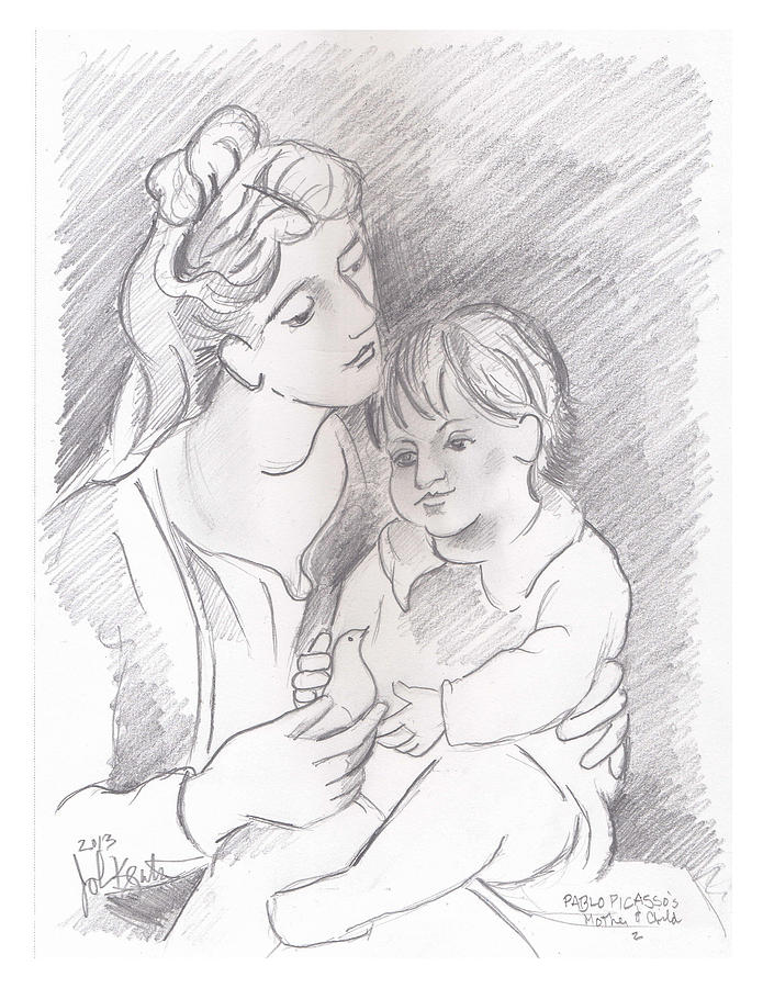Mother And Child Drawing - Mother And Child by John Keaton