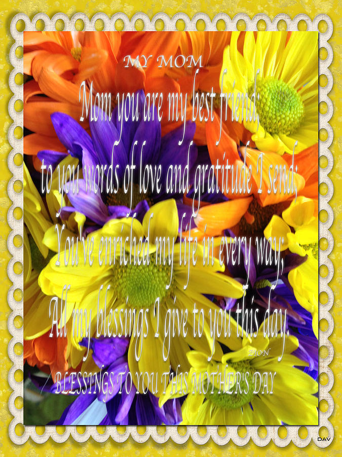 Mothers Day Poem Card Photograph - Mothers Day Cards by Debra     Vatalaro