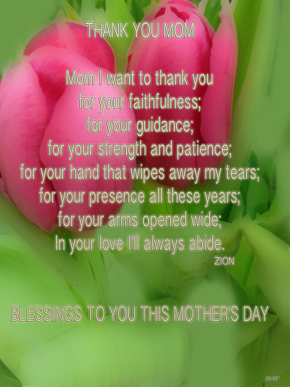 Mothers Day Card Photograph - Mothers Day Poem Card by Debra     Vatalaro