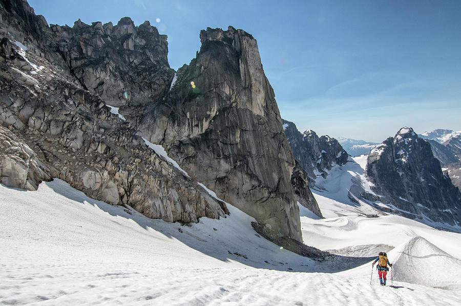 Mountain Photograph - Mountain Climber Traversing Glacier by Suzanne Stroeer