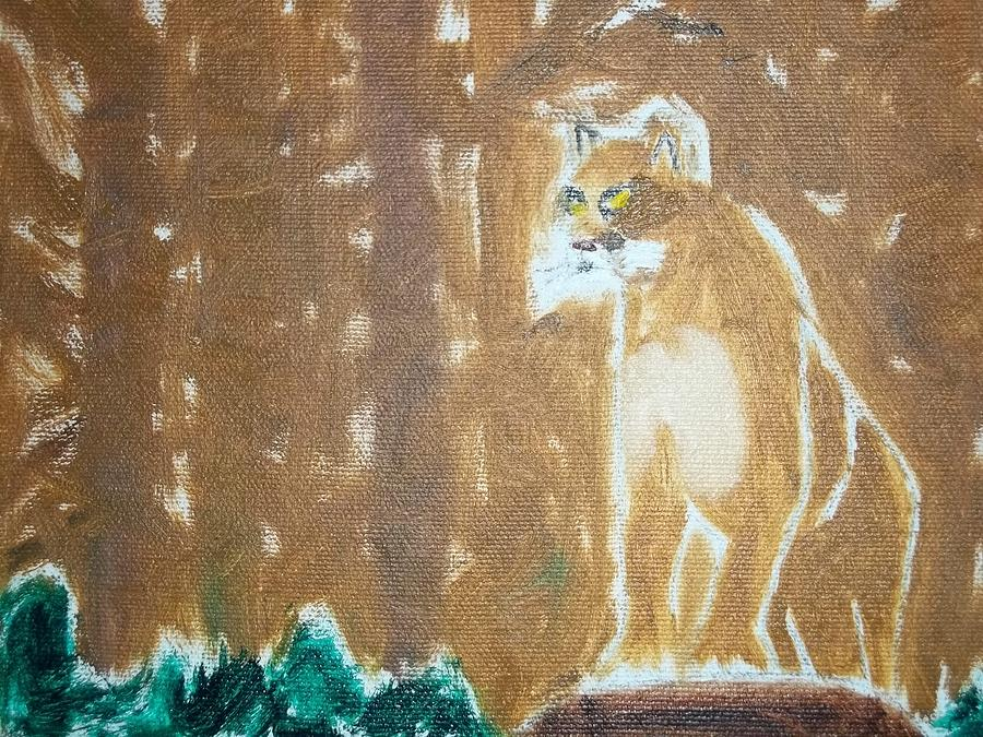 Mountain Lion Painting - Mountain Lion Oil Painting by William Sahir House