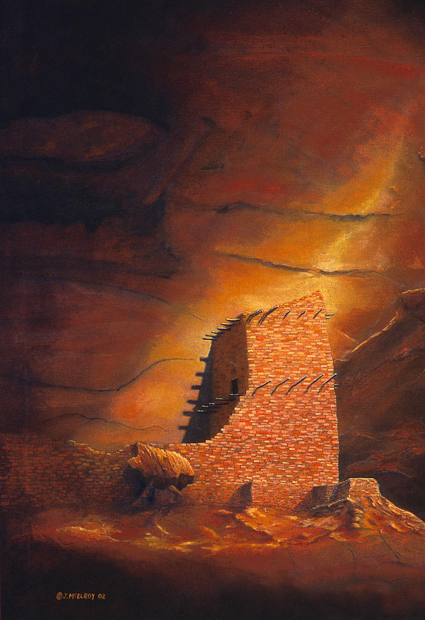Anasazi Painting - Mummy Cave Ruins by Jerry McElroy